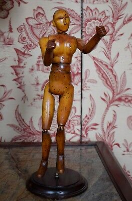 Rare Original Boxwood Artists Articulated Model On Stand For Life Drawing