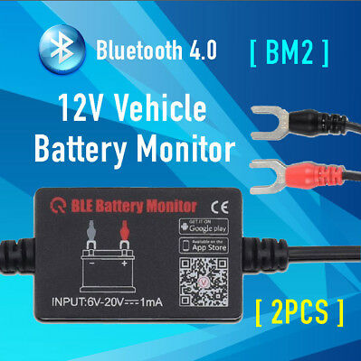 2x 12V Car Battery Monitor via bluetooth 4.0 Voltage Meter Tester w/ auto Alarm
