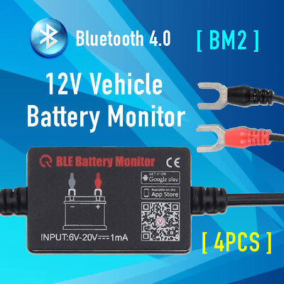 4x 12V Car Battery Monitor via bluetooth 4.0 Voltage Meter Tester w/ auto Alarm