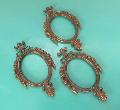 Set Three Small Art Nouveau Frames Italy Vtg Antique Metal Detailed Ornate