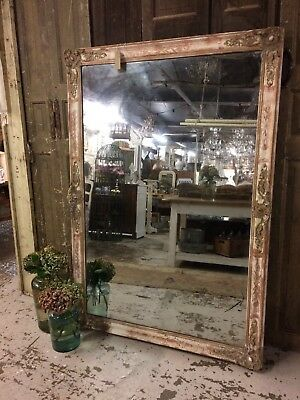 Huge Antique French Original Mirror Mercury Plated Rare Floor Standing Size