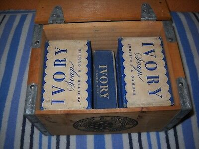New Vintage I943 Ivory Soap Wooden Crate With 7 New Bars Of Soap