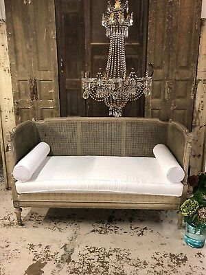 Stunning Rare French Antique Rattan Sofa Day Bed