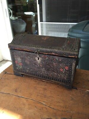 Old Folk Art Hand Painted Small Chest Cloth Lined Padded