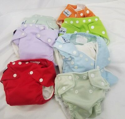 Lot of 7  FUZZIBUNZ Cloth Snap Diaper Covers Size Small & One Size Multi Colors