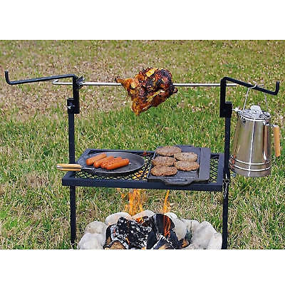 Outdoor Campfire Cooking Grill Rotisserie Camping Equipment Kitchen Heavy Duty