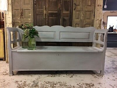 Beautiful Painted Bench/settle, Storage Box, Painted