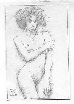 Nude Original Classic Art Female Sexy Woman Naked Pencil Drawing ANTUANETTE