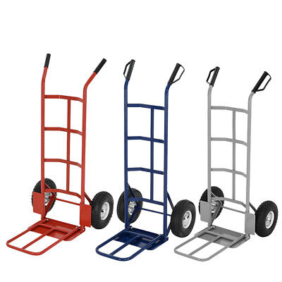 Hand Sack Truck Trolley Industrial Heavy Duty Pneumatic Tyres Folding Red Blue