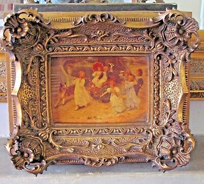 Very Old Plaque Tile Children Picture Stamped Vienna Stunning Ornate Gilt Frame