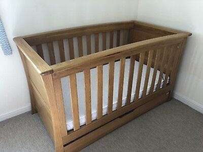 Mamas And Papas Ocean Solid Oak Cot Bed & Changer