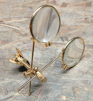Gold Clip on double eye loupe magnifier Steampunk Cosplay Costume