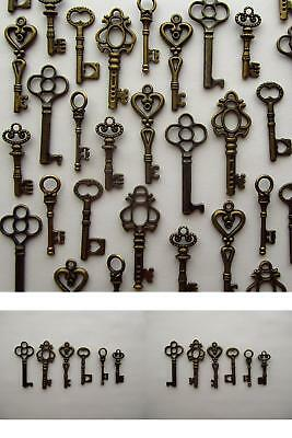 Vintage Style Antique Skeleton Furniture Cabinet Old Lock Keys Copper-Lot Of 48