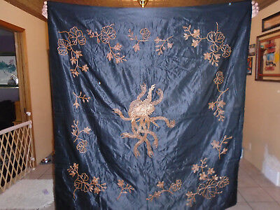"Antique/Vtg. Chinese Embroidered Silk Panel (Bird in Middle) w/Flowers 55""x52"""