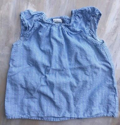 H&M Hm Baby Girl Blue Striped Shirt Blouse Top 1 1/2 2 Year Old