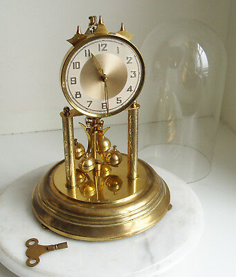 German Anniversary Clock with Glass Dome 29cm Tall