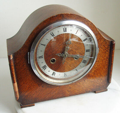 Enfield English Art Deco Oak Case Mantel Clock