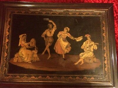 Large Antique Sorrento ware Box, Lined with Lock
