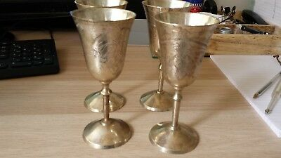 4 x silver plated goblets