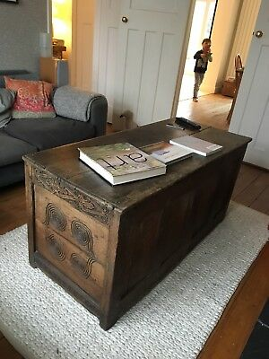 Large Antique Chest Blanket Box Trunk Vintage
