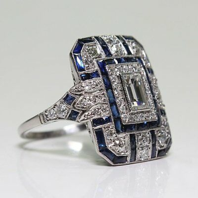 Art Deco Large 925 Jewelry Sterling Silver Blue Sapphire & Diamond Ring