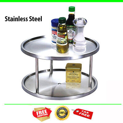 Stainless Steel Double Tier Lazy Susan 360 Degree Turntable 10 Inch  Diameter New
