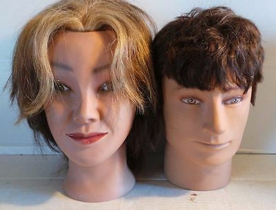 2 human hair life size heads hairstylist mannequin headphone stand decoration