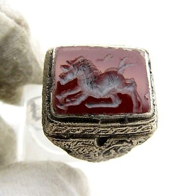 Post Medieval Silver Ring With Carved Intaglio Carmleian  Stone - C629