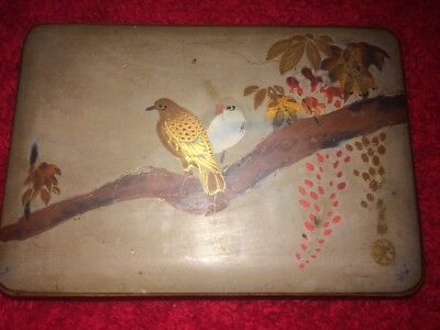 Antique Oriental Lacquer Ware, Hand Painted Design & Signed