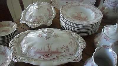 "Antique DELPH Scarce ""Windmill Pattern"" 78-PC Dinnerware Set -RARE Surviving Set"