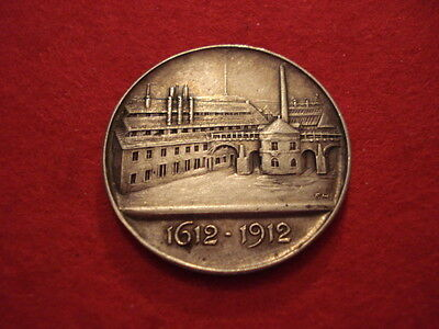 1612 1912 German Coin Silver Medal Halsbrucke Factory Bridge Saxony Germany Wwi