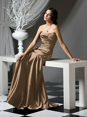 Dessy Collection Formal Mother of the Bride Bridesmaid Dress Size 10 Latte