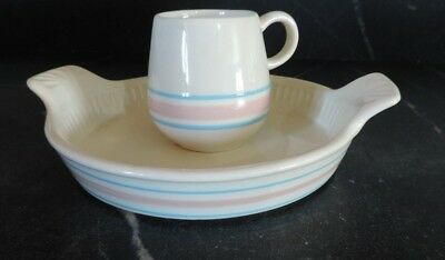 Mccoy pottery striped band pink and blue pie casserole and cup mug