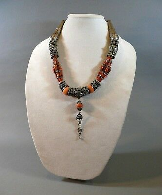 "Estate Found Vintage Tibetan Chinese Silver & Coral Tribal Ethnic 24"" Necklace"