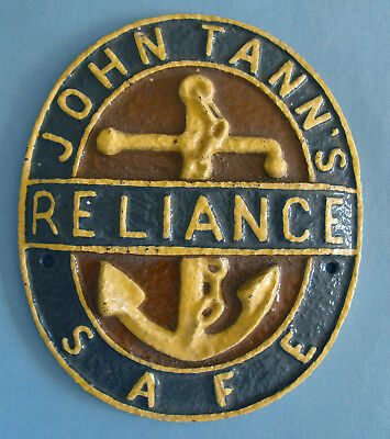 Original Vintage John Tann's cast iron Reliance Safe Plaque