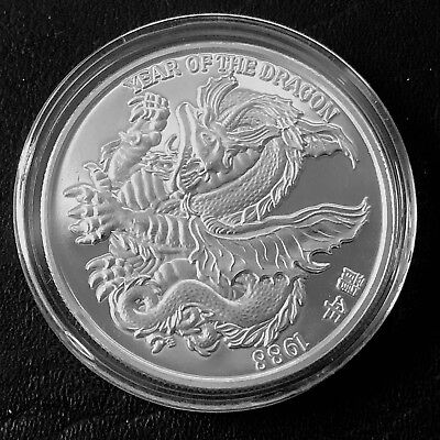 1988 The Year of The Dragon 1 Troy oz .999 Fine Silver Art Round Z5