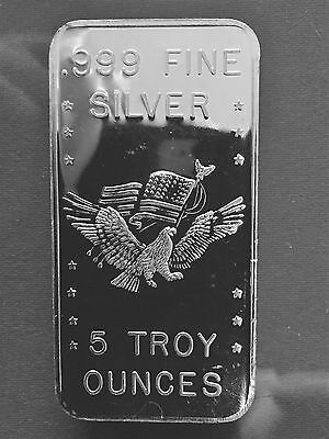 APMEX 5 Troy Ounces oz .999 Fine Silver Bar - APM