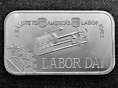 1973 Labor Day Mother Lode Mint 1 Troy oz .999 Fine Silver Art Bar Q2