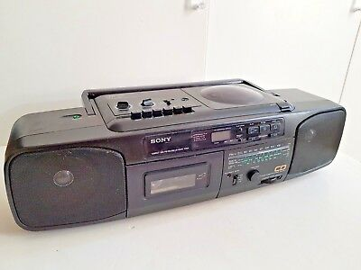 SONY CFD-50L Portable CD CASSETTE RADIO Player Boombox Black Spares Repairs
