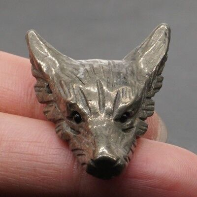 Howling Wolf Natural Pyrite Pendant Carved Stone Necklace Jewelry