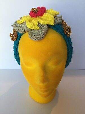 Hand made Crochet cotton head band with flowers and hidden elastic