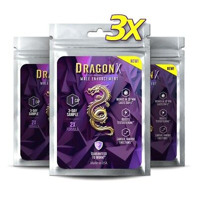 3 x 1 Pack DRAGON X Male Enhancement Pills = LARGE ROCK HARD Performance!