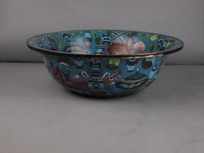Antique Chinese Qing Dynasty Large Cloisonne Bowl