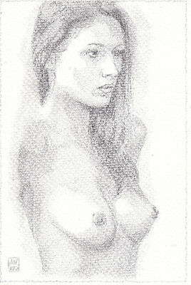 Nude Original Classic Art Female Sexy Woman Naked Pencil Drawing MONIC