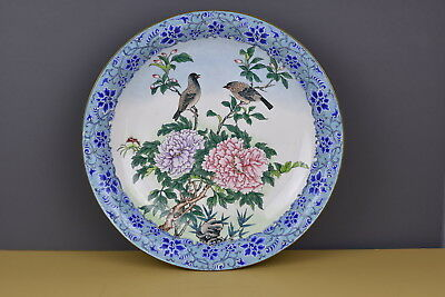 Large Chinese Canton Enamel Footed Charger