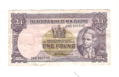 Reserve Bank of New Zealand One Pound Banknote, 1956-1967