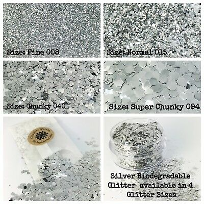 Biodegradable Cosmetic Glitter - Silver Festival Party Confetti makeup Skin body