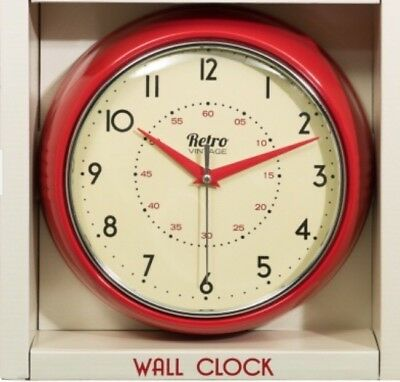 Retro Vintage Chunky Round Wall Clock Kitchen Diner Room Home Decoration Red