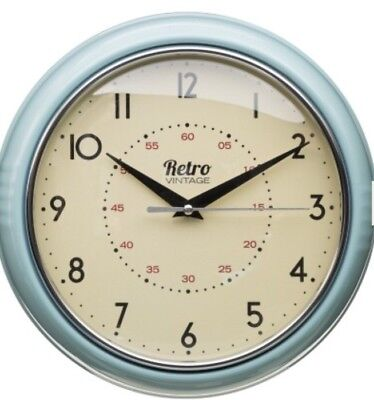 Retro Chunky Round Wall Clock Kitchen Diner Home Decoration Blue Duck Egg Trendy