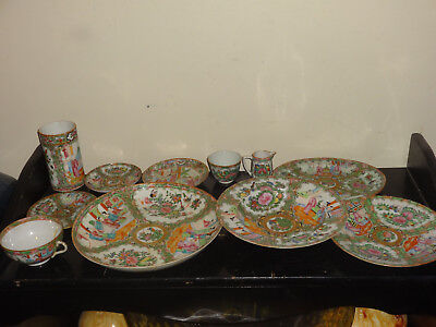 Lot of 11 pieces of Antique Chinese Famille Rose Medallion China Plates Bowls